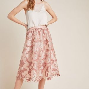 NWT Maeve Shannon Embroidered Midi Skirt (Small)